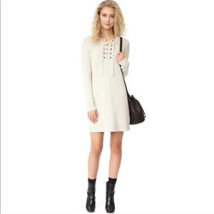 Madewell Lace-Up Sweater Dress in Ivory